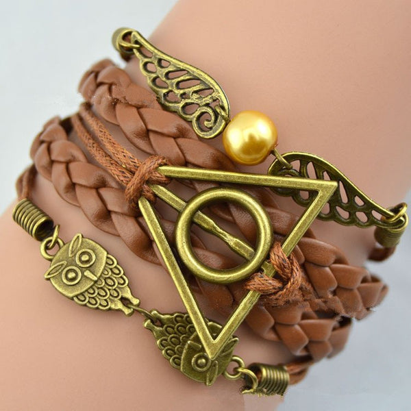 Harry Potter Deathly Hallows Snitch Owl Multi Strand Bracelet - Scruffy Chic