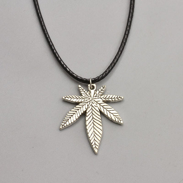 Silver Ganga Leaf Pendant Necklace - Scruffy Chic