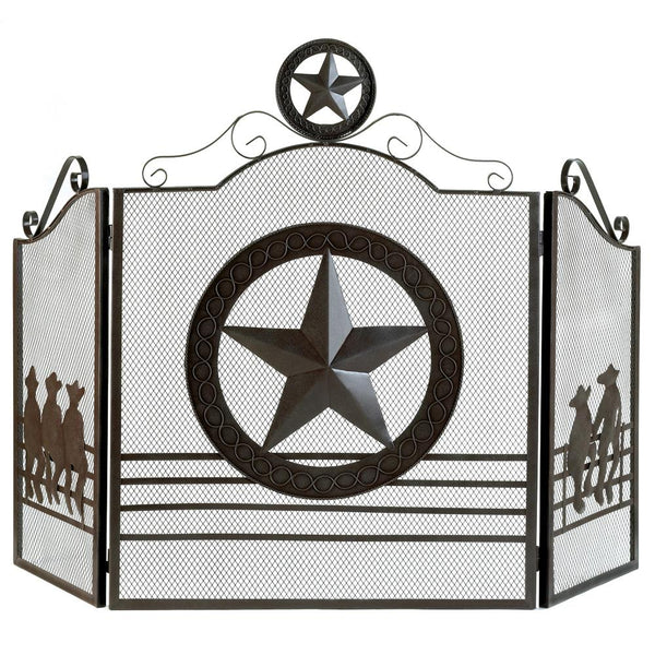 Texas Style Lone Star Fireplace Screen with Cowboys - Scruffy Chic