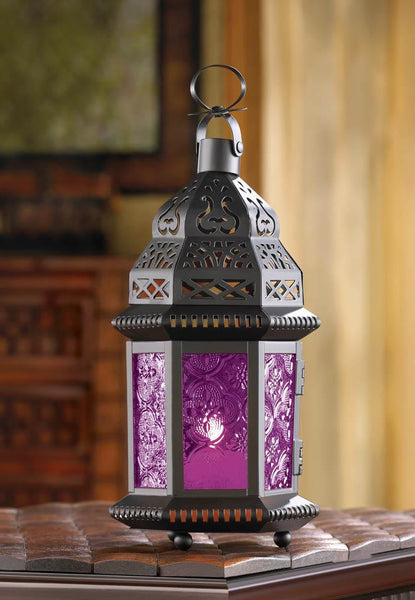 "Stained Glass Punched Metal Moroccan garden Lantern Candle holder 10"" Purple Moroccan Lantern - Scruffy Chic"