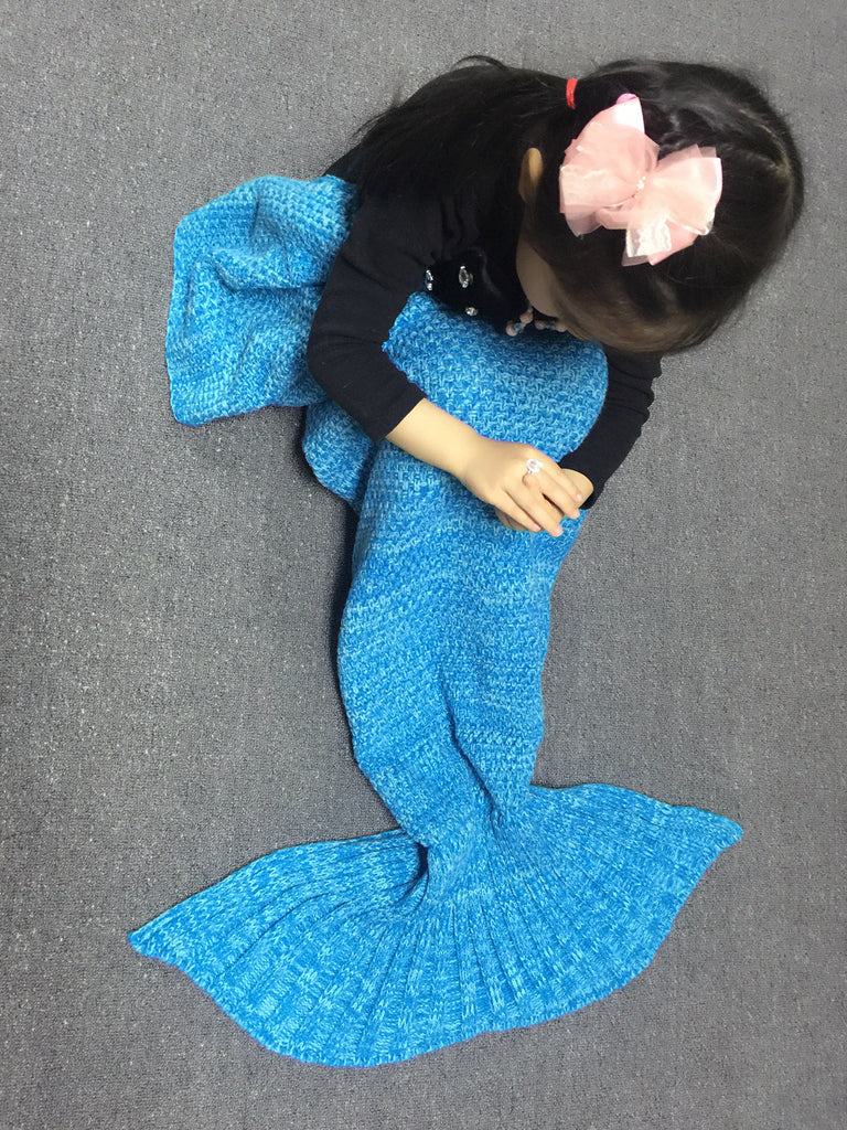 Blue Little Mermaid Blanket Blue Mermaid Tail Blanket for Children - Scruffy Chic