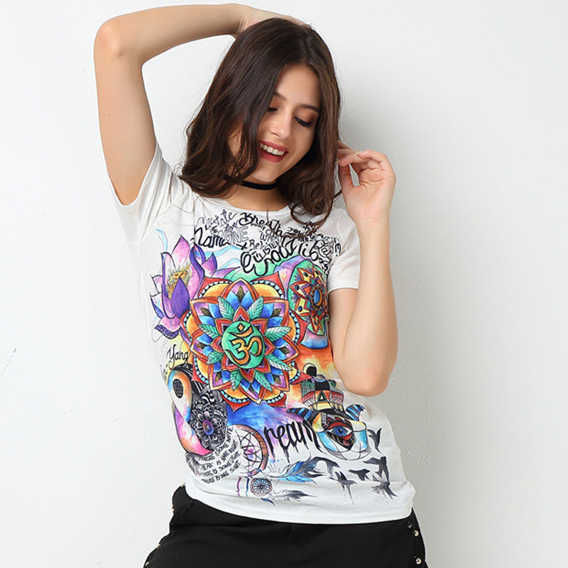 Zen Yoga Shirt Namaste Tattoo Graffiti Rainbow Yoga Tee Shirt - Scruffy Chic