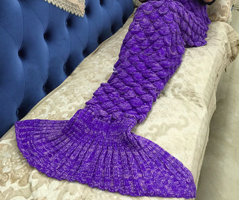 Purple Mermaid Tail Blanket for Kids Fish Tail Blanket SOLD OUT! - Scruffy Chic