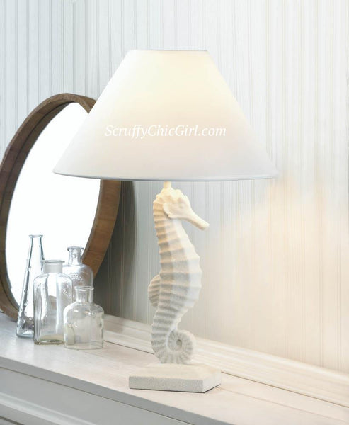 Shabby White Seahorse Table Lamp with Lamp Shade - Scruffy Chic