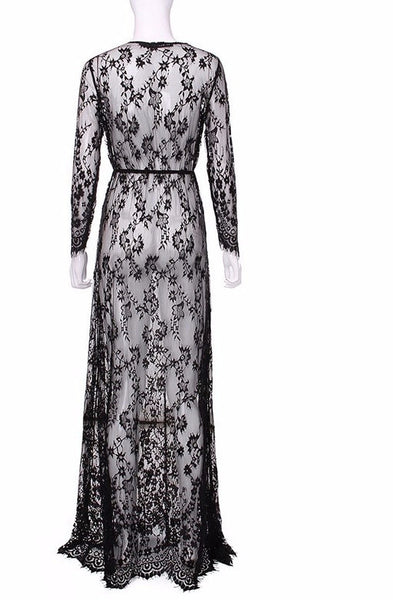 Sexy Lace Embroidery Maxi Solid White Dress Long Sleeve Deep V Neck - Scruffy Chic