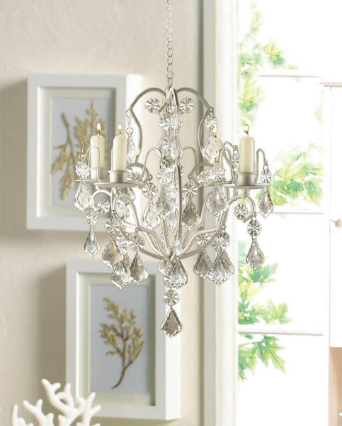Shabby Ivory Chic Chandelier - CRYSTAL CHIC HOME DECOR - Scruffy Chic
