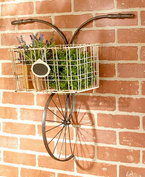 Shabby Vintage Chic Wall Decor Bicycle Rack Plaque Metal Wall Art - Scruffy Chic