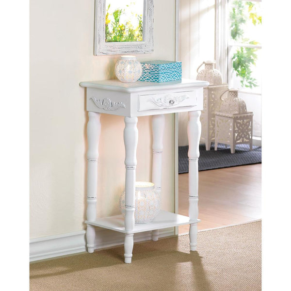 Shabby White Chic Carved Nightstand End Table - Scruffy Chic