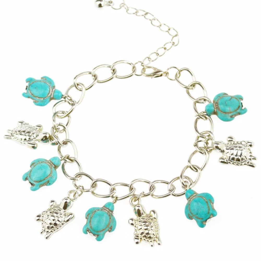 Sea Turtle Silver Turquoise color Bracelet - Scruffy Chic