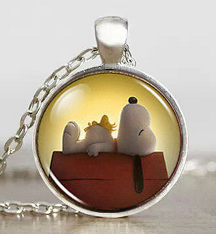 Snoopy Dog Necklace Cartoon Puppy Dog Snoopy Woodstock Silver Pendant Necklace - Scruffy Chic
