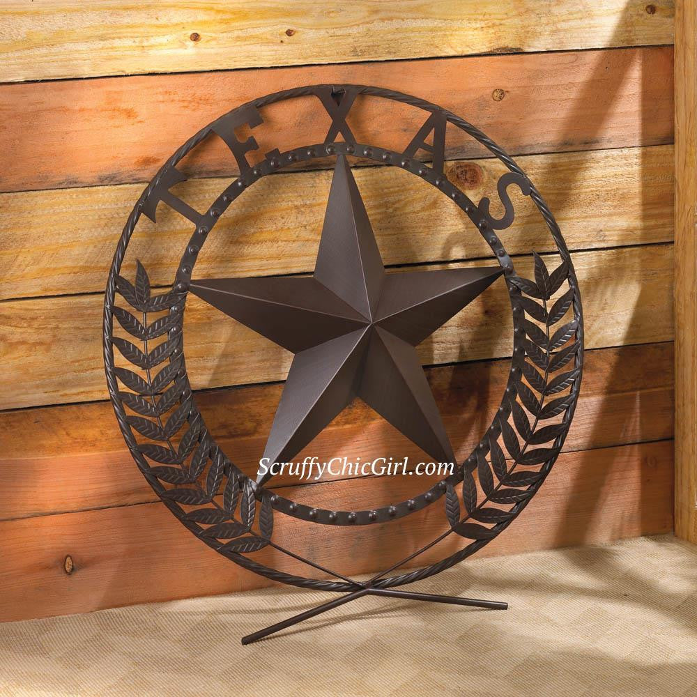 Awesome Big TEXAS STAR Metal Wall Plaque - Scruffy Chic