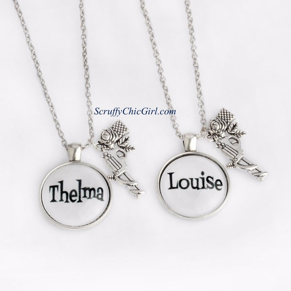 Thelma & Louise GUNS Charms Pendant Necklace Set Jewelry Gift - Scruffy Chic