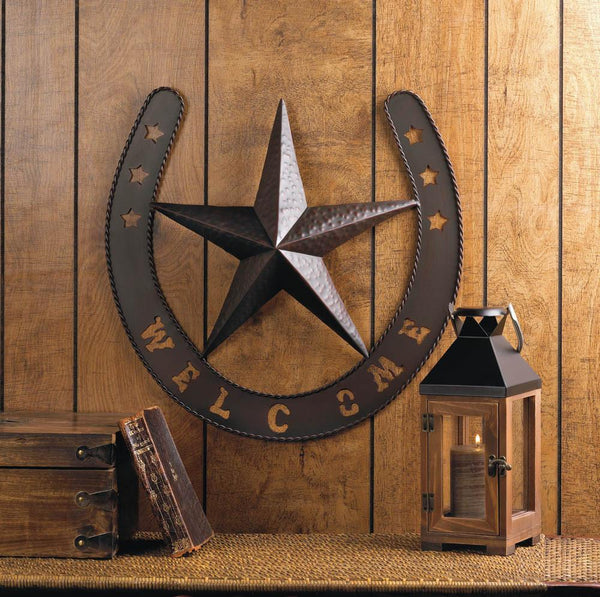 Texas Star Horse Shoe Wall Plaque Welcome Sign - Scruffy Chic