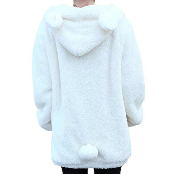 White Teddy Bear Ears Hoodie Sweater Jacket Bear Tail Free Shipping - Scruffy Chic