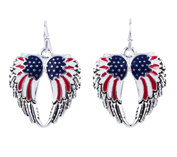 American USA Flag Angel Wings Pendant Necklace 4th of July Red White Blue Earrings Jewelry Gift Set - Scruffy Chic