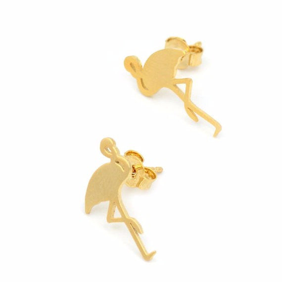 Flashy Flamingo Earrings Gold Flamingos - Scruffy Chic