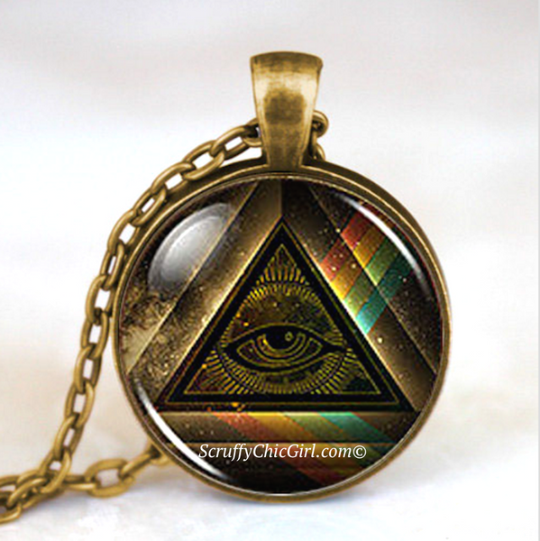 Masonic Free Mason Illuminati Freemason Necklace Collectible Jewelry Gift Rainbow - Scruffy Chic