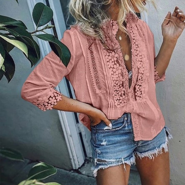 Floral Lace Ruffle Vintage Style Blouse V-Neck 3/4 Sleeve Shirt