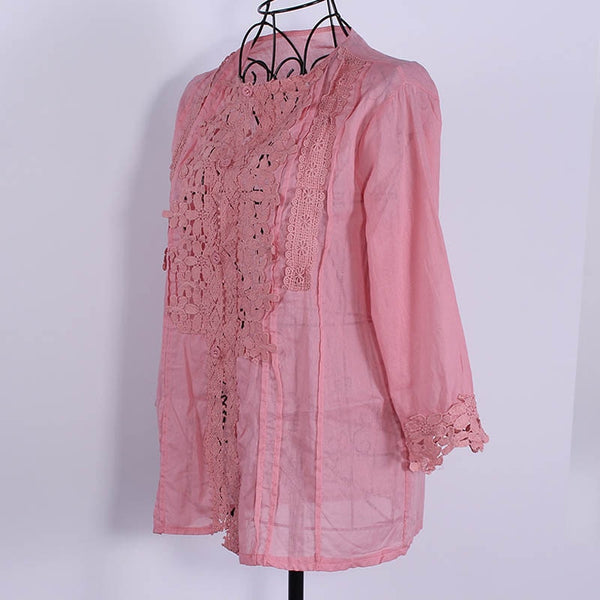 Floral Lace Ruffle Vintage Style Blouse V-Neck 3/4 Sleeve Shirt - Scruffy Chic