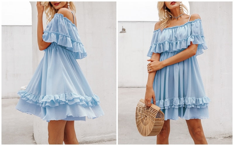 Vintage Off shoulder Ruffle Pink Dress - Scruffy Chic