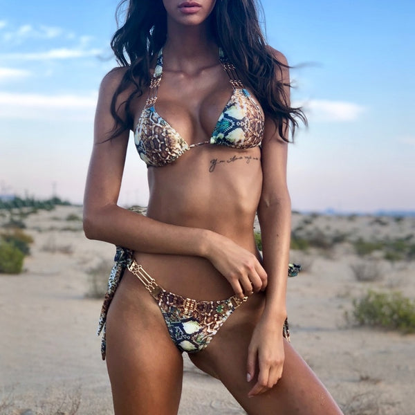 Sexy Girls Snake Push-up Bikini Swimsuit Bathing Suit - Scruffy Chic