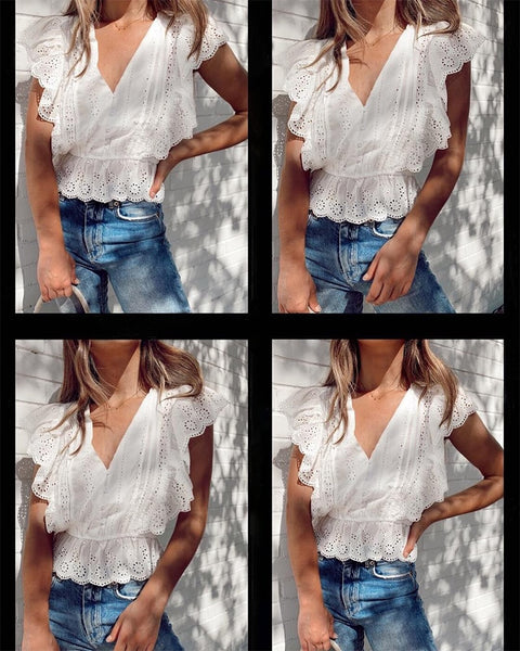 Elegant Vintage Style Ruffle Blouse V neck Embroidery Lace Shirt - Scruffy Chic