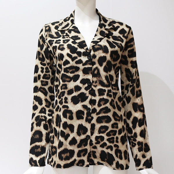 Snow Leopard Chiffon Long Sleeve Blouse - Scruffy Chic