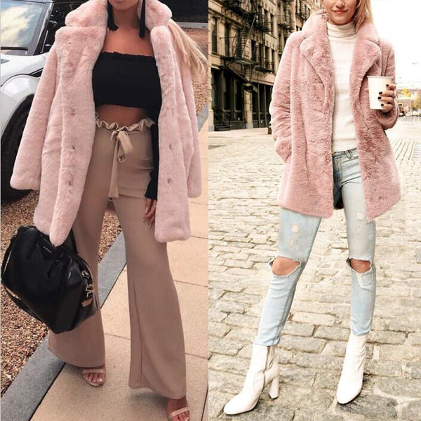 Cool Pink Shabby Shaggy Teddy Bear Plush Faux Fur Coat - Scruffy Chic