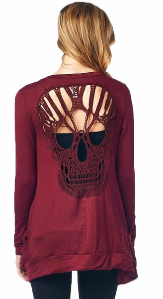 Skull Hollow Out Knitted Long Sleeve Sweater Shirt Free Shipping - Scruffy Chic