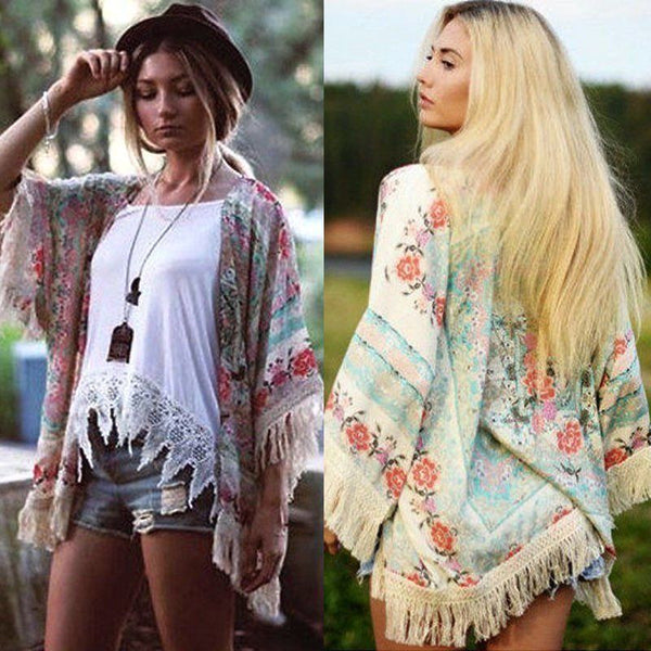 Boho Chic Fringe Summer Women Floral Bikini Cover Up Sexy Swimwear Beach Cover Up Bikini Dress - Scruffy Chic