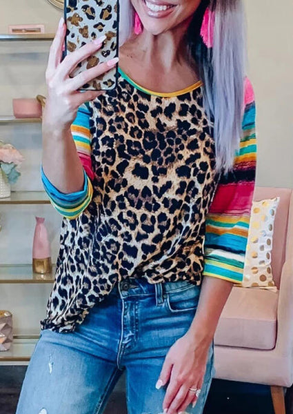 Leopard Neon Tee Shirt  Three Quarter Long Sleeve T-shirt