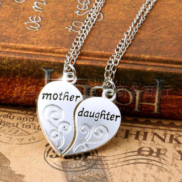 Mother Daughter Necklace Jewelry Gift Set Silver Heart Necklace Set - Scruffy Chic