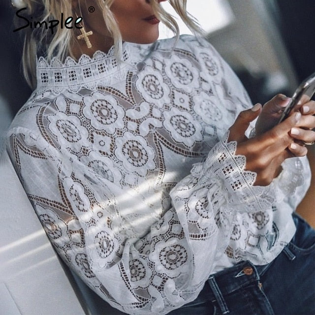 Floral Lace Embroidery Lantern Sleeve Blouse Sheer Boho Style Shirt - Scruffy Chic