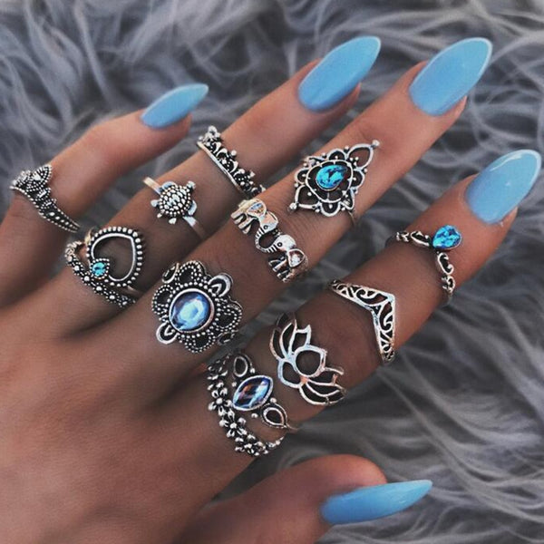 Bohemian Style Rings Elephant Blue Stone Silver Color knuckle Midi Ring Set BOHO Beach Jewelry Set - Scruffy Chic