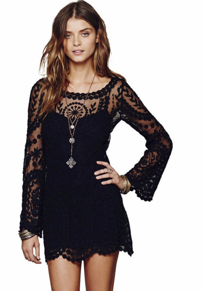 Floral Lace Embroidery Flare Sleeve Blouse Sheer Boho Style Shirt Dress - Scruffy Chic
