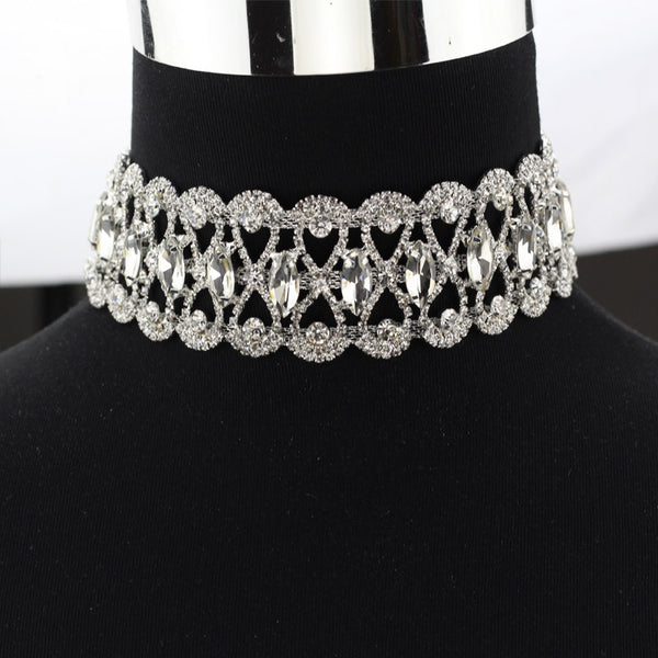 Fancy Punk Goth Fashion Chunky Sparkling Rhinestone Choker Necklace - Scruffy Chic