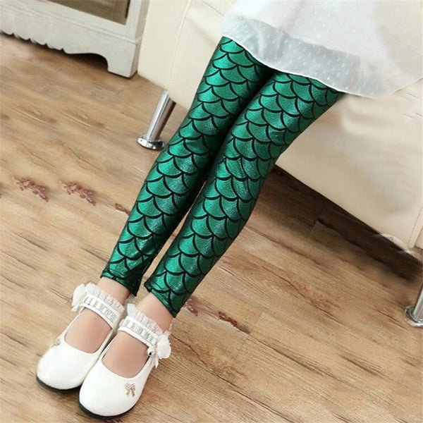 A Little Mermaid Girls Leggings Shiny Mermaid Leggings - Scruffy Chic