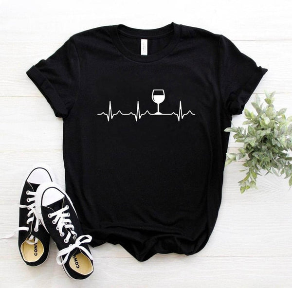 Wine Heartbeat Women Tee Shirt Top