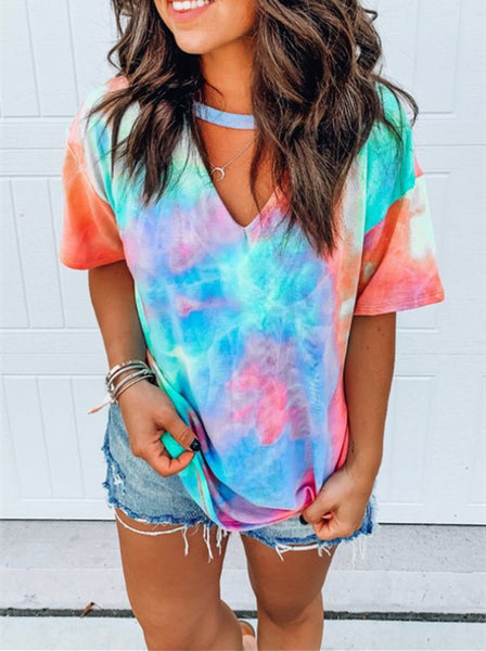 Women's V Neck Colors Tie Dye Tee Shirt Top