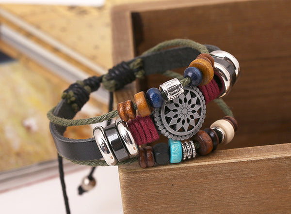 Hippy Chic Vintage Style Multilayer Braided Beads Tibetan Silver Charm Warp Leather Rope Bracelets - Scruffy Chic