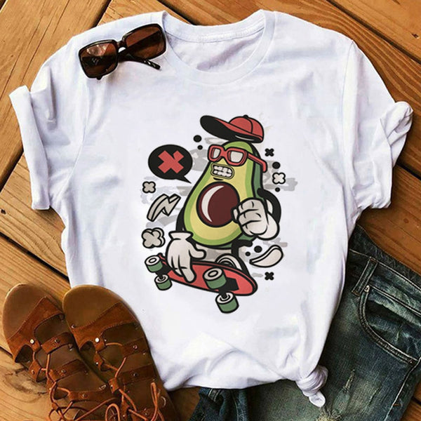 Avocado Cartoon Short Sleeve T-shirt