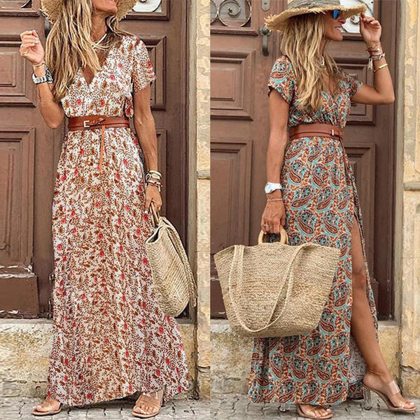 Boho Chic Vintage V Neck Short Sleeve Paisley Print Dress with Belt - Scruffy Chic