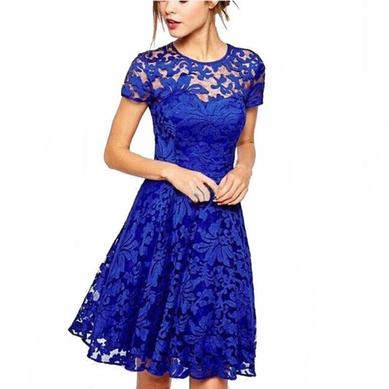 Floral Lace Dress Short Sleeve Party Dress Blue Red Black Mini Dress ...