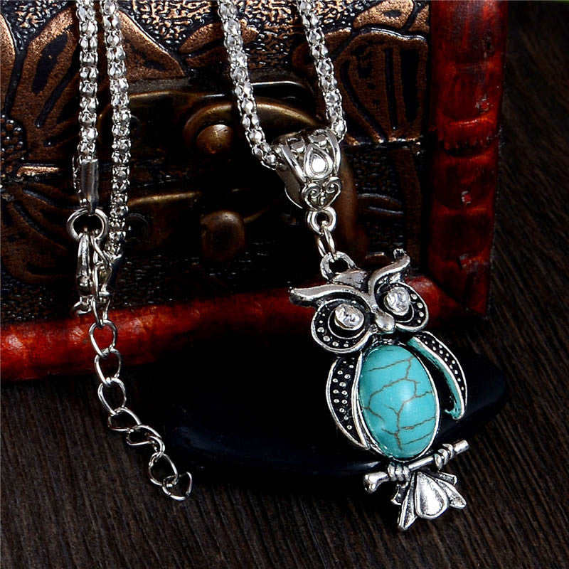 Charming Blue Turquoise Crystal Eyes Owl Necklace Free Shipping - Scruffy Chic