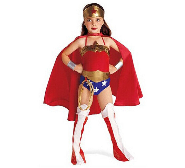 Little Girls Wonder Woman Dress Costume Children Party Cosplay Clothes  Scruffy -1121
