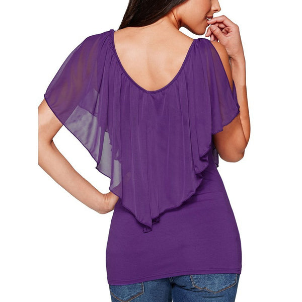 Chic Open Shoulder V Neck Blouse Shirt Tops - Scruffy Chic