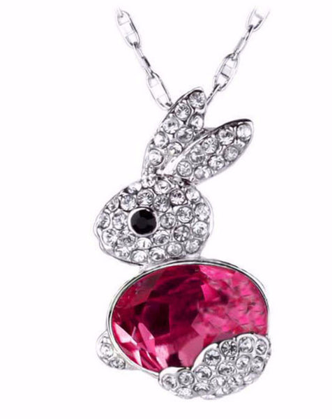 Cute Bunny Rabbit Crystals Pendant Necklace Jewelry Gift - Scruffy Chic