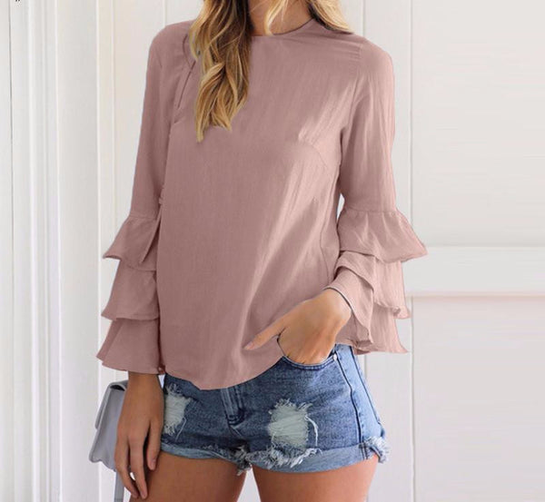Chic Ruffle Long Sleeve Blouse Shirt Tops - Scruffy Chic