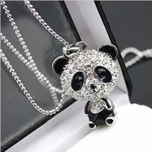 Panda Bear Necklace crystal pendant necklace - Scruffy Chic