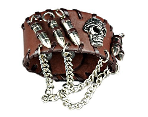 Gothic Bullets Skeleton Skull Punk Biker Wide Cuff Leather Bracelet - Scruffy Chic